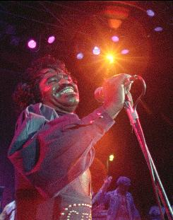 James Brown performs at the 1974 concert in Zaire, Africa.