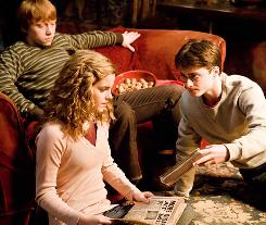 Hermione (Emma Watson), Ron (Rupert Grint) and bespectacled Harry Potter (Daniel Radcliffe) are back in the sixth installment of the Harry Potter franchise..