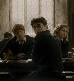 """All grown up: Ron (Rupert Grint, left), Harry (Daniel Radcliffe) and Hermione (Emma Watson) in Half-Blood Prince. """"I've seen their interests beyond Potter flourish,"""" producer David Heyman says."""