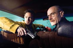 Aaron Paul (supporting actor), left, and Bryan Cranston (best actor) star in best-drama nominee Breaking Bad, about a dying high school chemistry teacher who turns to manufacturing high-quality meth to make some fast money to help his family.