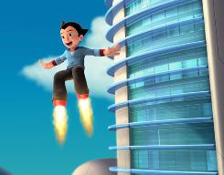 Astro Boy was constructed by Dr. Tenma (voiced by Nicolas Cage), a war-machine engineer who built him in the image of his late son, Toby.
