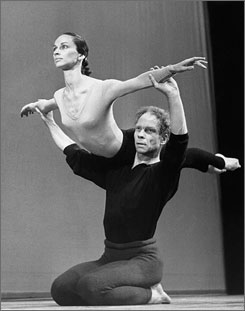 Merce Cunningham lifts Carolyn Brown during rehearsal in 1964.