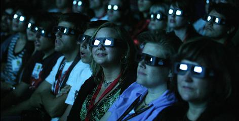 "Blinded by technology: Festivalgoers watch a preview of the 3-D film  Avatar. But  director James Cameron hopes improved effects isn't all they remember:  ""If I'm doing my job right, all of that technology will slowly disappear, and  people will  forget everything but the story."""