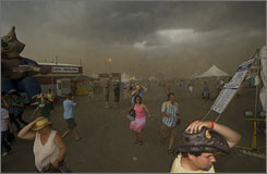 A devastating thunderstorm rolls into the site of the Big Valley Jamboree in Camrose, Alberta, Canada.