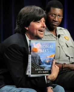 12 hours of fame: Ken Burns, left, features Yosemite park ranger Shelton Johnson in his film The National Parks: America's Best Idea. It premieres next month.