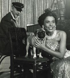 In 1957: Lena Horne with her pet pug and her second husband, Lennie Hayton, at the Sands Hotel in Las Vegas.