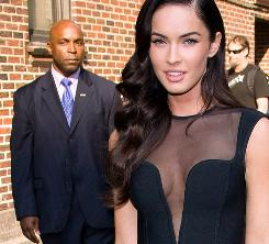 Going sheer from here to there was an attention-getter for Megan Fox, who here was leaving the New York studio after an appearance on David Letterman's show..