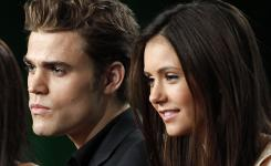 Vampire Diaries, the TV series, features Paul Wesley and Nina Dobrev. Wesley plays a onetime vampire in a small town who now yearns for Dobrev.