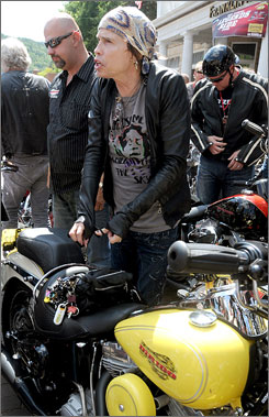 Aerosmith frontman Steven Tyler, who has been taking part in the Sturgis Motorcycle Rally this week, tumbled off the stage during the band's Wednesday night show at a South Dakota campground.