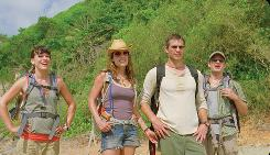 Cydney (Milla Jovovich), left, Gina (Kiele Sanchez), Nick (Timothy Olyphant) and Cliff (Steve Zahn) are vacationing on the Hawaiian islands while a serial killer is on the loose, but for some reason, they don't just leave.