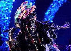 Look what I found at the Village People's garage sale: Karen O of the Yeah Yeah Yeahs sported a huge headdress during Saturday night's performance at Grant Park.