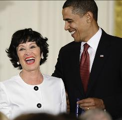 President Obama shares a laugh with Presidential Medal of Freedom recipient Chita Rivera, who, as a Puerto Rican-American, broke barriers as an actress, singer and dancer to become a Broadway star in West Side Story.