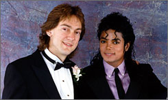 Michael Jackson and John Branca, left, celebrate Branca's 1987 wedding.
