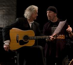 Six-string brotherhood: Jimmy Page, left, and The Edge talk about their art and their passion.