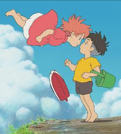 Emerging friends: Ponyo (Noah Lindsey Cyrus) and Sosuke (Frankie Jonas).