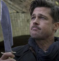 Inglourious Basterds, starring Brad Pitt, is a time-warp nod to war films from Quentin Tarantino. The 1978 version of the film was spelled correctly: The Inglorious Bastards.
