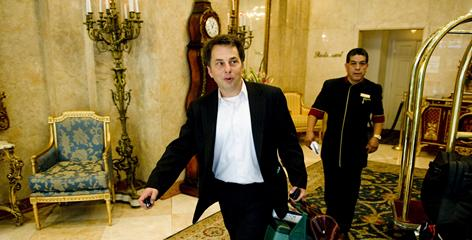 Ronald Primas leaves a Manhattan hotel after visiting a patient. The doctor is convinced that USA Network's Royal Pains is at least partly based on his practice, in which he specializes in travel medicine, making house calls to luxury lodgings, and the health care of wealthy people and celebrities.