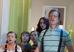Jake Short, left, Trevor Gagnon, left, Jimmy Bennett, Kat Dennings and William H. Macy find that wishes-come-true can backfire.