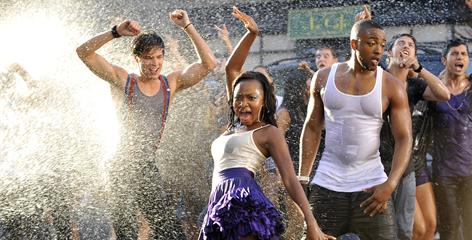 Remember, remember, remember: Paul McGill, left, Naturi Naughton and Collins Pennie perform in the music video for Fame. The film opens Sept. 25.