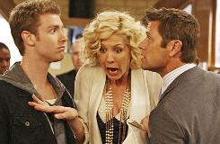 "Accidentally on Purpose stars Jenna Elfman as Billie; Jon Foster, left, as ""boy toy"" Zack; and Grant Show as James, her boss and one-time flame who wants to resume their relationship."