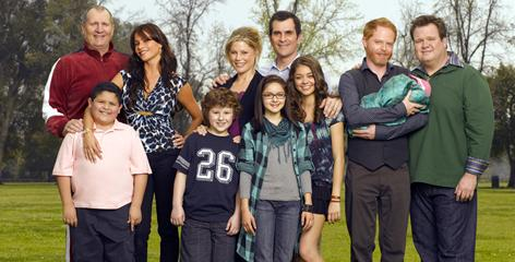 Funny family: Modern Family has relatable characters and real humor. Ed O'Neill, left, Rico Rodriguez, Sofia Vergara, Nolan Gould, Julie Bowen, Ariel Winter, Ty Burrell, Sarah Hyland, Jesse Tyler Ferguson and Eric Stonestreet.