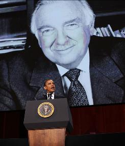 President Obama speaks at a tribute to the late TV journalist Walter Cronkite at the Lincoln Center in New York. Even though he'd never met Cronkite, Obama said he &quot;benefited as a citizen from his dogged pursuit of the truth.&quot;
