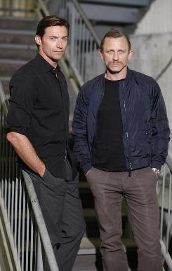 Camaraderie: Hugh Jackman and Daniel Craig will play Chicago police officers in the drama A Steady Rain, which premieres Sept. 29 on Broadway.