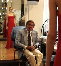 Fashioning a look: Designer Valentino still has an eye for style in The Last Emperor, a documentary filmed from 2005 to 2007.