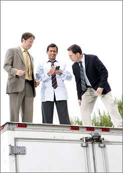 Dwight (Rainn Wilson), left, Michael (Steve Carell) and Andy (Ed Helms) are on top of it.