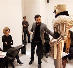 Editor in chief Anna Wintour's critical eye scrutinizes a design in the documentary following the publication of an issue of Vogue.