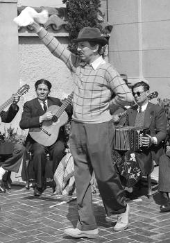 Walt Disney joins Argentine dancers in Buenos Aires during his 1941 tour of South America.