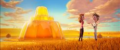 In the book Cloudy With a Chance of Meatballs, the giant Jell-O sets in the west like a sun. In the movie, above, the characters go inside the jiggly molded Jell-O and bounce around.