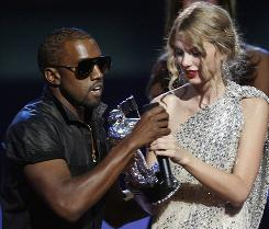 A rude interruption: As Taylor Swift gave her acceptance speech for her award at MTV's Video Music Awards on Sunday, rapper Kanye West took the microphone and suggested Beyonce should have won.