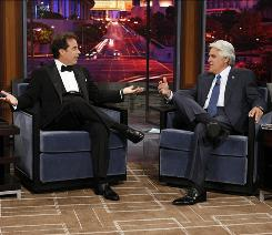 Stand-up sitting down: Jay Leno talks to Jerry Seinfeld, the first guest on Leno's new show.