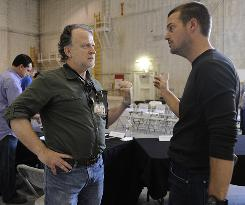 Shane Brennan meets with NCIS: LA star Chris O'Donnell after the cast and crew conducted a roundtable read-through of a script of an upcoming show.