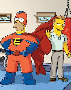 Homer Simpson stars as Everyman. His trainer-to-the-stars, Lyle, is voiced by Seth Rogen.