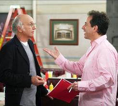 """No acting at all"": That's because Jerry Seinfeld, right, and the Seinfeld cast improvised easily with Curb Your Enthusiasm's Larry David."