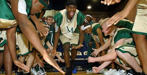 LeBron James, center, with his teammates from St. Vincent-St. Mary High School in Akron, Ohio, in a scene from More Than a Game.