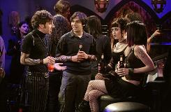 Howard (Simon Helberg), left, and Raj (Kunal Nayyar) meet two women (Molly Morgan and Sarah Buehler) in The Big Bang Theory, a CBS sitcom about four young scientists and the waitress next door.