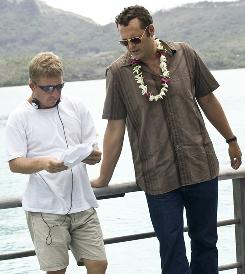Creative partners: Director Peter Billingsley and Vince Vaughn work on the set of Couples Retreat in Bora Bora.