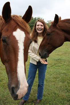 Jeannette Walls with her horses Yaeger, left, and Jackson at her farm in Culpeper, Va. Walls' new Half Broke Horses is about her maternal grandmother, Lily Casey Smith, who broke horses, toted a rifle and taught frontier children.