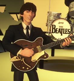 George Harrison in The Beatles: Rock Band, which has two versions in the top 10 for September sales.