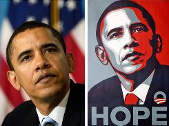Heart of the dispute: A poster of President Obama by artist Shepard Fairey and a 2006 file photo of then-Sen. Barack Obama by Associated Press photographer Mannie Garcia. .
