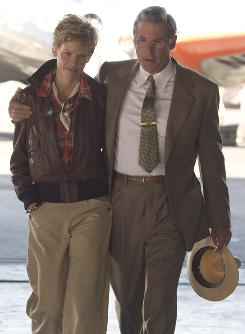 Close study: Hilary Swank and Richard Gere portray real-life couple Amelia Earhart and George Putnam. Swank studied hours of newsreels and spent weeks learning Earhart's speech patterns for the role.