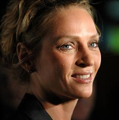 """It's very personal"": Uma Thurman, photographed at the premiere of Motherhood in New York, says she relates to her character, who is also a mother of two trying to balance her home and work lives."