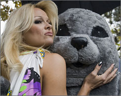 Pamela Andersonis among several celebrities who are taking part in an ad campaign by People for the Ethical Treatment of Animals.