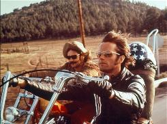 Dennis Hopper, left, and Peter Fonda take to the open road in the '60s cult classic Easy Rider.