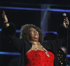 Aretha Franklin performs during the second of two 25th anniversary Rock and Roll Hall of Fame concerts.