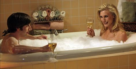 Big Bang Theory aerospace engineer Howard Wolowitz (Simon Helberg) shares time in the tub with Battlestar Galactica's Katee Sackhoff.