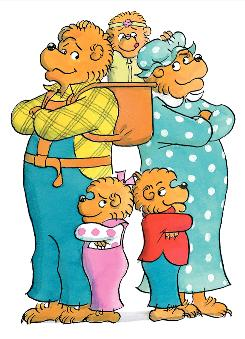 Beloved book family since 1962: Papa Bear, Mama Bear, Brother Bear, Sister Bear and baby Honey Bear.